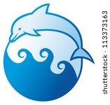 dolphin jumping symbol  | Shutterstock . vector #113373163
