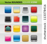 vector set of 16 rounded square icons - stock vector