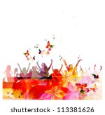 Colorful vector people with butterflies - stock vector