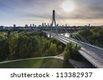 Panorama of Warsaw in Poland during sundown - stock photo