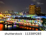 Singapore by night - stock photo