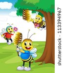 Illustration Of A Honey Bees...
