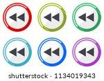rewind web vector icons  set of ... | Shutterstock .eps vector #1134019343