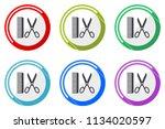 barber web vector icons  set of ... | Shutterstock .eps vector #1134020597