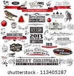 2013 christmas vintage... | Shutterstock . vector #113405287