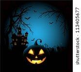 spooky halloween background   Shutterstock .eps vector #113405677