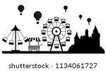 amusment park skyline vector... | Shutterstock .eps vector #1134061727