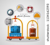 hotel building taxi and suitcase | Shutterstock .eps vector #1134162593