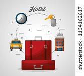 hotel red suitcases taxi... | Shutterstock .eps vector #1134162617