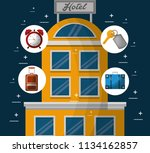 hotel building taxi and suitcase | Shutterstock .eps vector #1134162857
