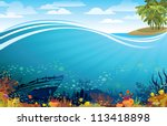 Coral reef with fish and silhouette of sunken ship under the island with palm trees - stock vector