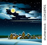 Winter landscape with snow houses and yellow full moon - stock vector