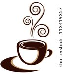 cup of hot coffee or tea drink... | Shutterstock .eps vector #113419357