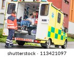paramedics putting patient man... | Shutterstock . vector #113421097