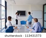 group of happy young  business... | Shutterstock . vector #113431573