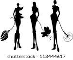 silhouette fashion girls | Shutterstock .eps vector #113444617