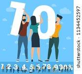 big  ten number. white numbers  ... | Shutterstock .eps vector #1134452597