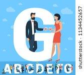 big g letter. white letter with ... | Shutterstock .eps vector #1134452657