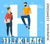 big h letter. white letter with ... | Shutterstock .eps vector #1134452663