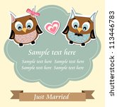 Cute owls just married wedding invitation card - stock vector