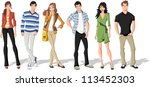 group of fashion cartoon young... | Shutterstock .eps vector #113452303