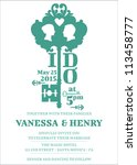 wedding invitation card   key... | Shutterstock .eps vector #113458777