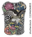 eagle flying tattoo.traditional ... | Shutterstock .eps vector #1134606803