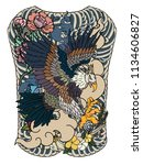 eagle flying tattoo.traditional ... | Shutterstock .eps vector #1134606827