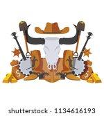 vector symmetrical scene with... | Shutterstock .eps vector #1134616193