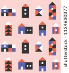 seamless pattern with small... | Shutterstock .eps vector #1134630377