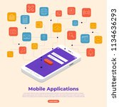 flat design concept of mobile... | Shutterstock .eps vector #1134636293