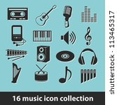 music icon collection - stock vector