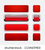 set of blank red buttons for... | Shutterstock .eps vector #113465983