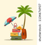 suitcase  bags and other... | Shutterstock .eps vector #1134676937