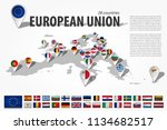 european union 28 countries and ... | Shutterstock .eps vector #1134682517