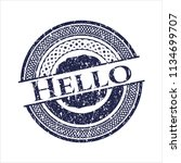 blue hello distressed rubber...   Shutterstock .eps vector #1134699707