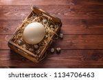 big ostrich egg on straw... | Shutterstock . vector #1134706463
