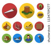 sawmill and timber flat icons... | Shutterstock .eps vector #1134709277