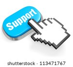 Blue oval button Support and hand cursor on white - stock photo