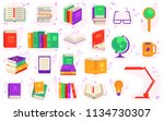 paper and electronic books set... | Shutterstock .eps vector #1134730307
