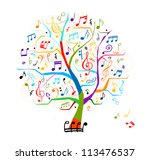 Abstract musical tree for your design - stock vector