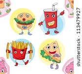 illustration of various food on ... | Shutterstock .eps vector #113479927