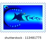 Fish predators on a postage stamp - stock vector