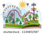 a pop up book fun fair theme... | Shutterstock .eps vector #1134852587