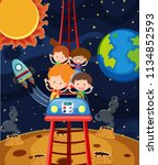a fun roller coaster space... | Shutterstock .eps vector #1134852593