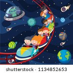 a fun roller coaster space... | Shutterstock .eps vector #1134852653