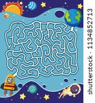 a space maze puzzle game... | Shutterstock .eps vector #1134852713