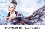Winter Girl In Luxury Fur Coat...