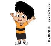 kid won the football match... | Shutterstock .eps vector #1134878873