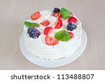 cake with fresh strawberries... | Shutterstock . vector #113488807
